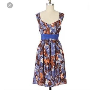 Anthropologie Maeve RARE Butterfly Silk Dress 6